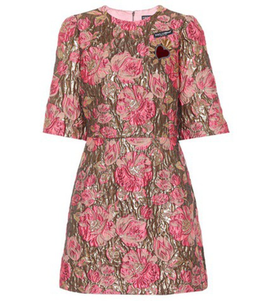 Dolce & Gabbana Brocade minidress in pink