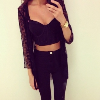 black jeans coat lace cardigan black cardigan bralette golden watch black lace ebonylace.storenvy ebony lace ebonylace247 ebonylace-streetfashion jeans shirt sweater leopard print crop tops tank top black crop tops top corset top