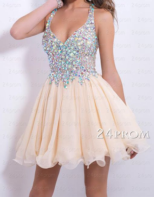 Sweetheart chiffon rhinestone short homecoming dress, prom dress