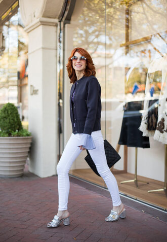 themiddlepage blogger jacket sweater jeans shoes bag sunglasses loafers gucci shoes white pants