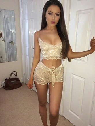 pajamas gold embroidered lace shorts top cute sleepwear two-piece emoji pajamas lady addict lace bralette lace bra