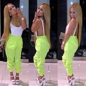 pants,clothes,shirt,jewels,shoes,lime green pants