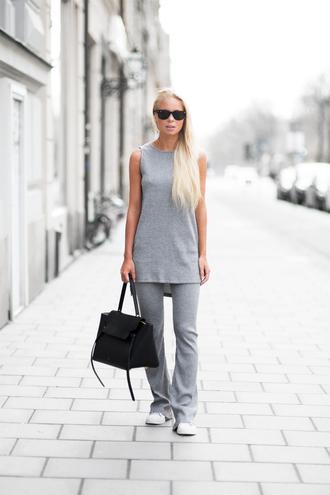 victoria tornegren blogger knitwear grey pants grey top sleeveless celine bag