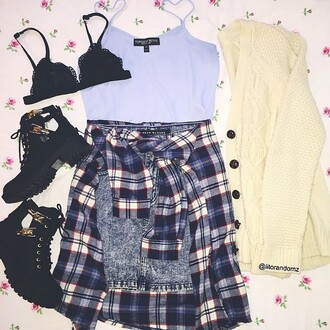 blouse bralette cardigan fall outfits boots flannel sweater shoes