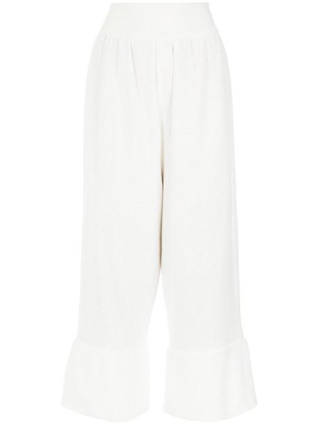 Olympiah cropped women white cotton pants