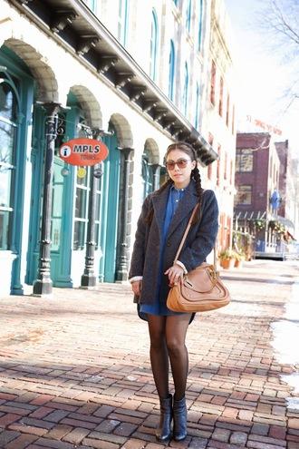 wearing fashion fluently blogger grey coat leather bag
