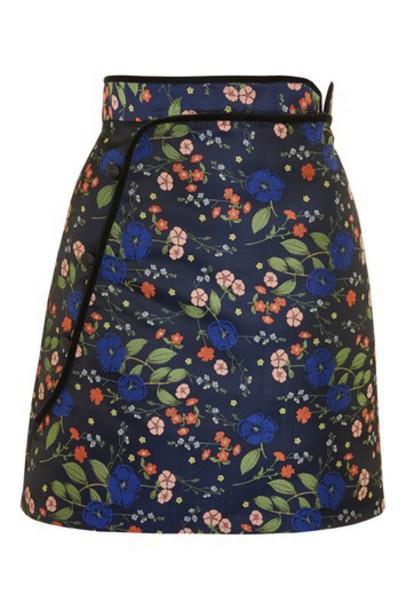 Topshop skirt mini skirt mini jacquard floral navy blue satin
