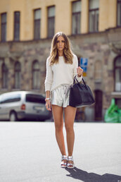 lisa olsson,shoes,bag,metallic shorts,sandals,flat sandals,Silver sandals,silver low heel sandals,shorts,leather shorts,silver shorts,sweater,white sweater,black bag,givenchy bag,givenchy,spring outfits,blogger