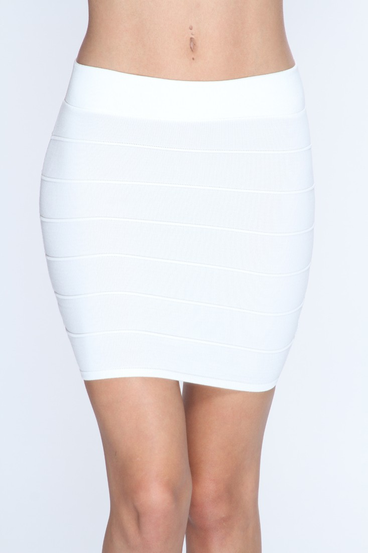 White Ribbed Texture Sexy Mini Skirt