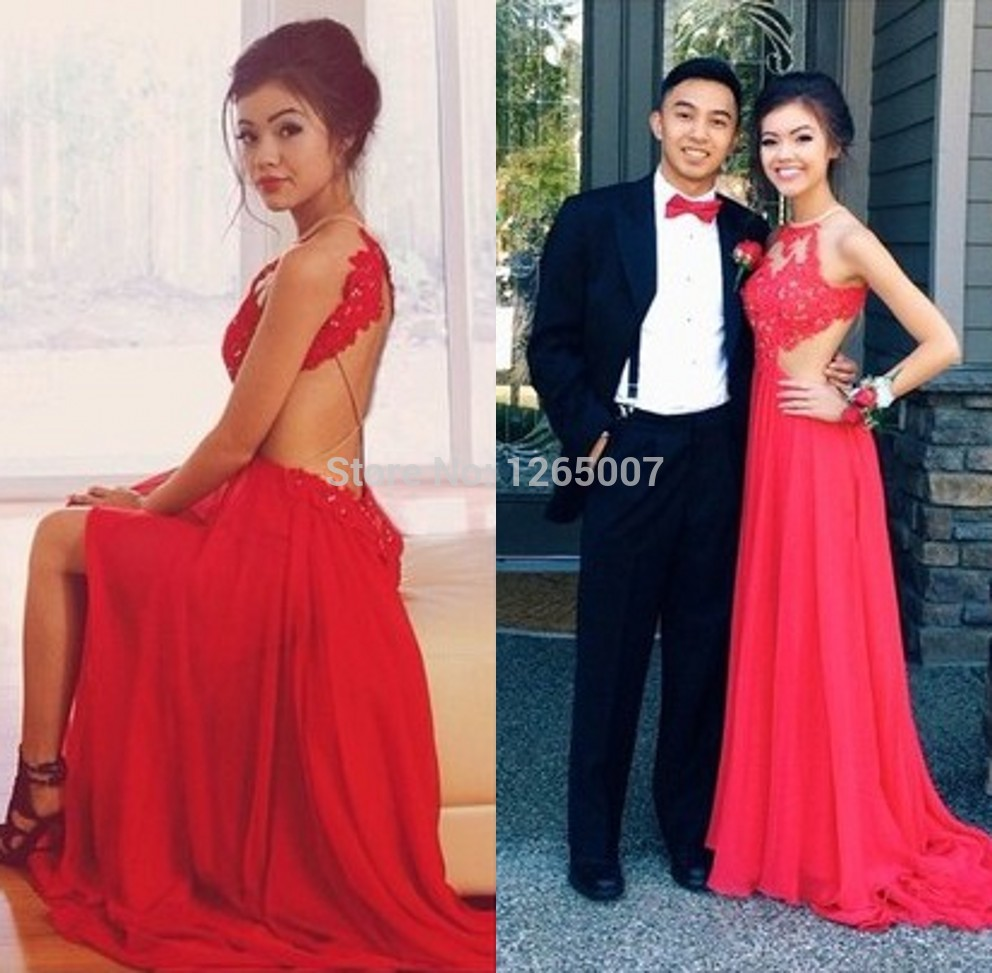Aliexpress.com : Buy 2014 Halter Red Lace Beaded Top Backless A Line Chiffon Mermaid Prom Dress Open Back 2014 Long Dress Fashion from Reliable fashion dress japan suppliers on SFBridal