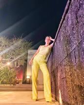 top,yellow,yellow top,kourtney kardashian,kardashians,pants,instagram,celebrity