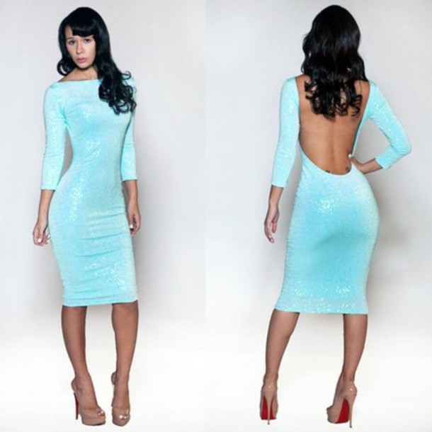 Dresses sleeve club blue long