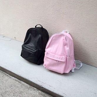 bag school bag solid pink black red orange yellow green blue purple backpack tumblr