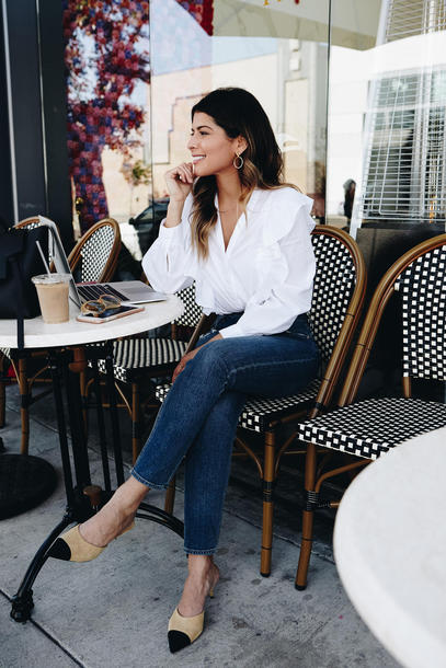shirt tumblr ruffle shirt white shirt denim jeans blue jeans ruffle shoes mules chanel chanel mules spring outfits