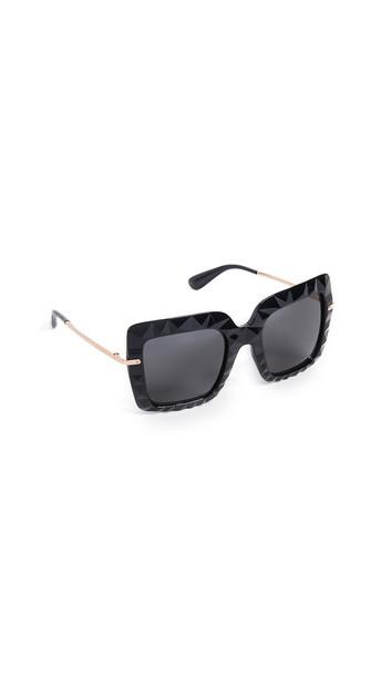 Dolce & Gabbana Bold Square Sunglasses in black / grey