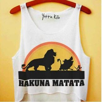 disney crop tops lion king hakuna matata yotta kilo tumblr tumblr girl tumblr clothes top tank top