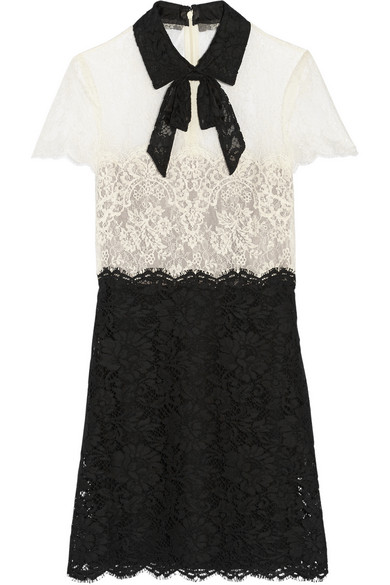 Valentino | Pussy-bow lace mini dress | NET-A-PORTER.COM