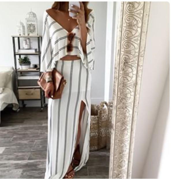 cb61fea315 dress, two-piece, stripes, style, fashion, boho dress, bohemian, white dress,  outfit, summer dress, slit dress, slit skirt, skirt, top, blouse, beach  dress, ...
