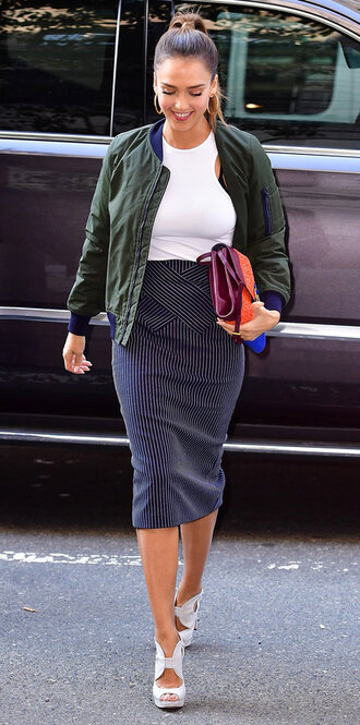 skirt top white top jessica alba sandals jacket bomber jacket streetstyle ny fashion week 2016