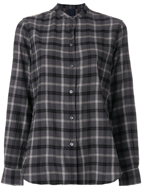 Aspesi - checked long sleeved shirt - women - Cotton - 44, Grey, Cotton