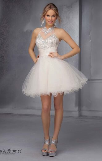 dolcepromdress.com dress silver dress white dress rhinestones prom dress damas quinceanera dress social dress homecoming dress short prom dress short beaded cocktail dresses short homecoming dress short party dresses