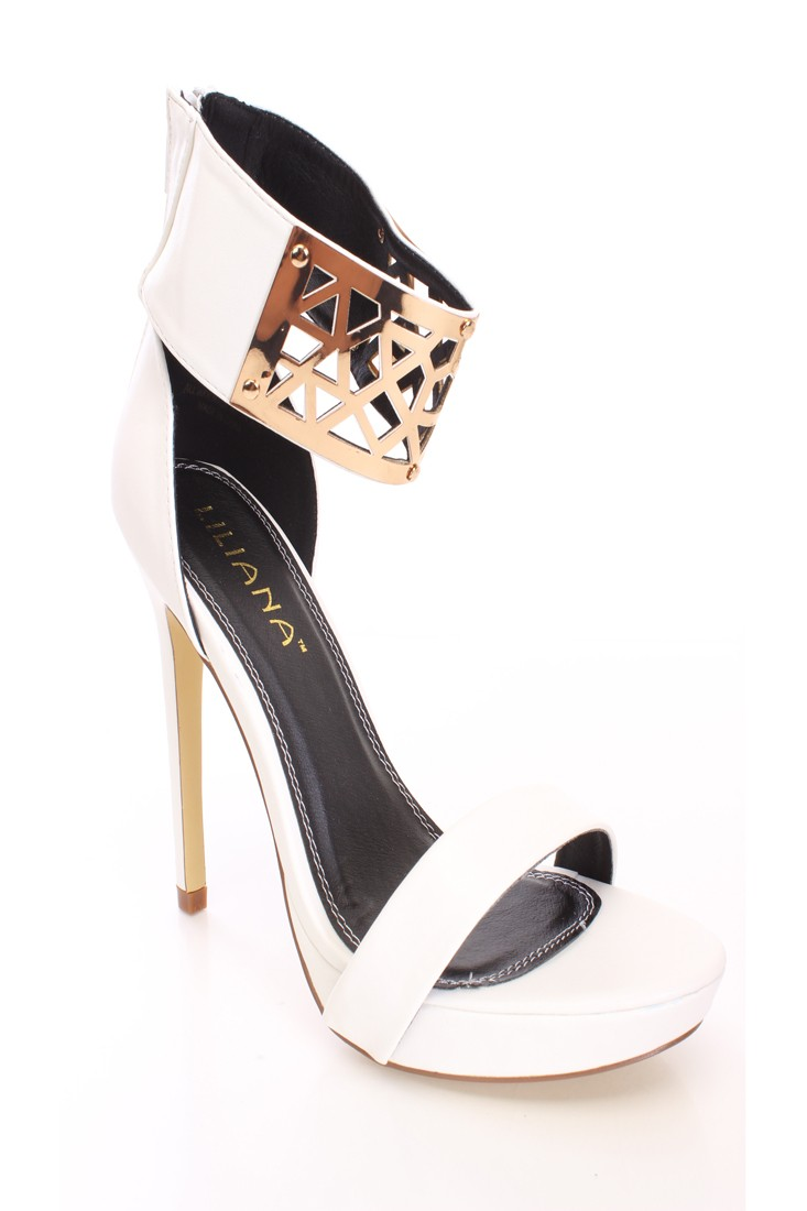 White High Polish Ankle Heels Faux Leather