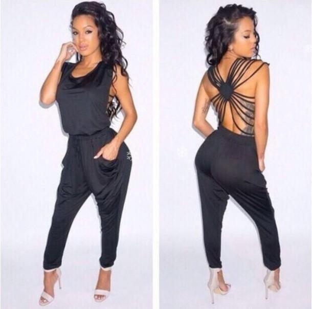 jumpsuit black backless draped collar backless jumpsuit black jumpsuit