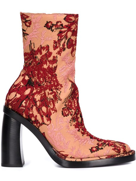 jacquard boots floral purple pink shoes