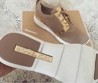 shoes kk michael kors beige tennis shoes gold nude
