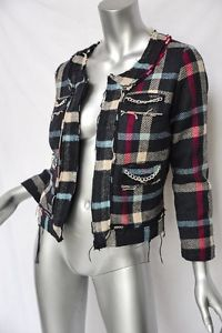 Sauce Plaid Chain Cocktail Blazer Distressed Collarless Jacket New Tags S | eBay