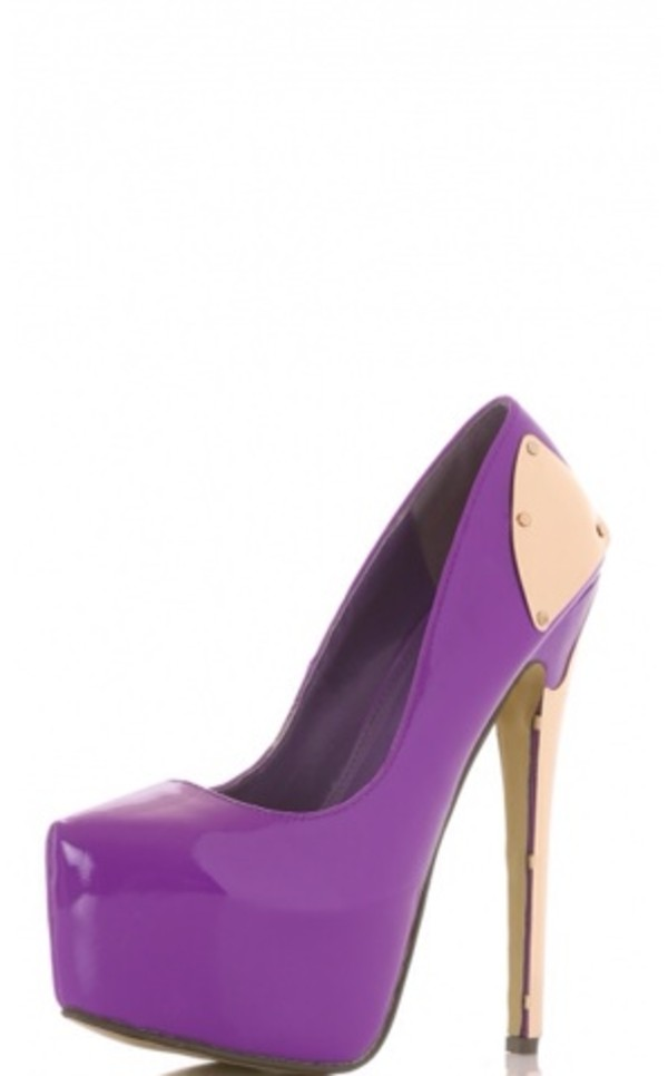 Shoes: purple, heels, gold, metal, high heels, stilettos - Wheretoget