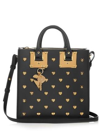 heart embellished leather gold black bag