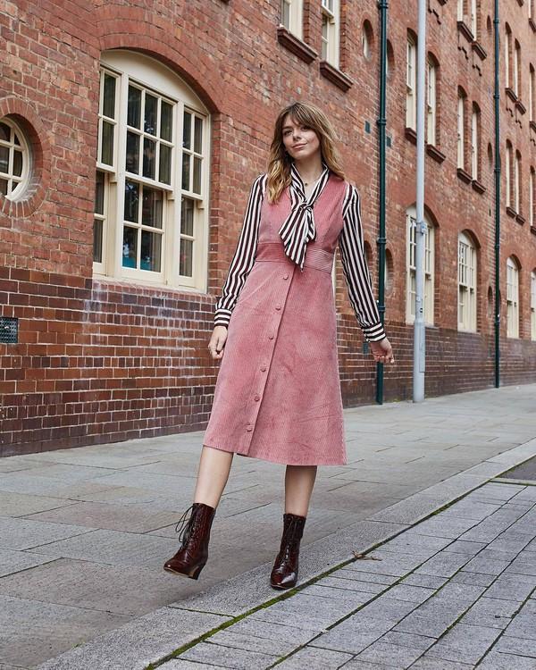 dress midi dress v neck dress stripes blouse vinyl boots button up