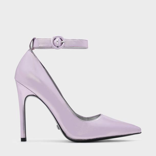 ankle strap pumps leather lilac shoes