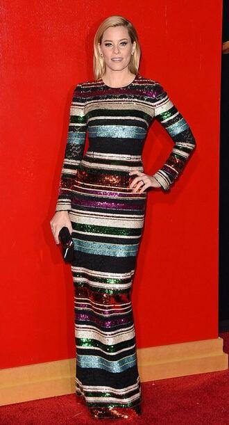 dress elizabeth banks stripes sequins sequin dress maxi dress gown the hunger games