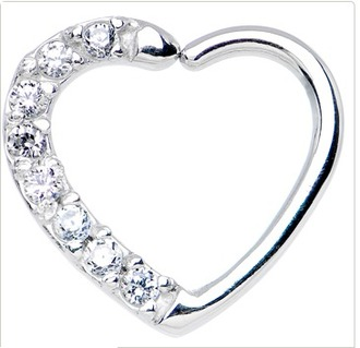 jewels silver piercing cartilage silver piercing heart heart piercing diamonds silver jewelry