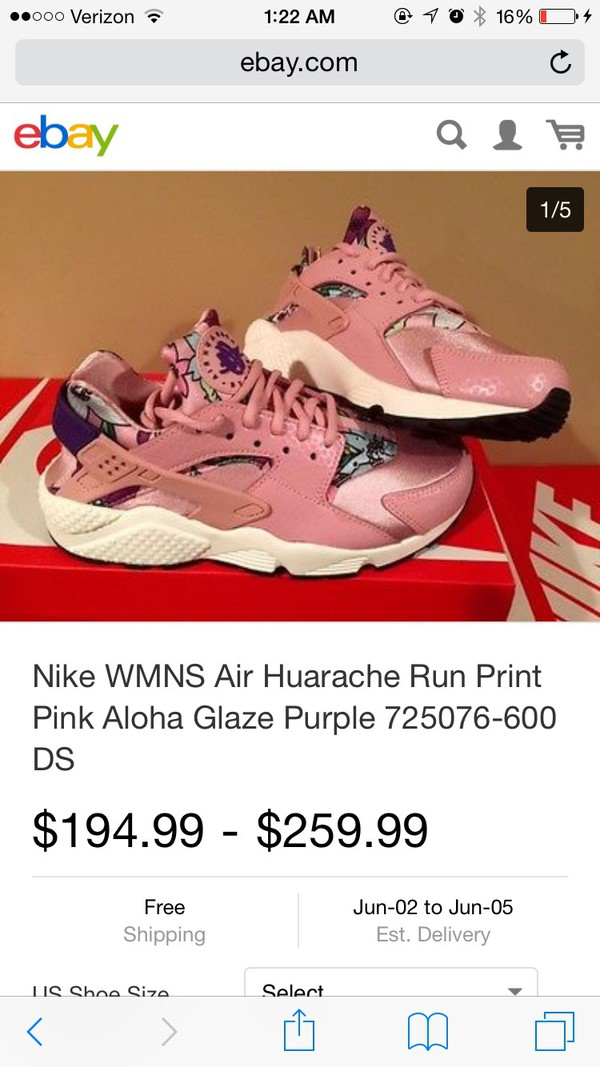 nike huarache pink aloha