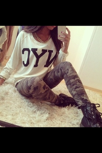 shirt white new york city black camouflage leggings clothes fashion pretty cute necklace jewelry pants
