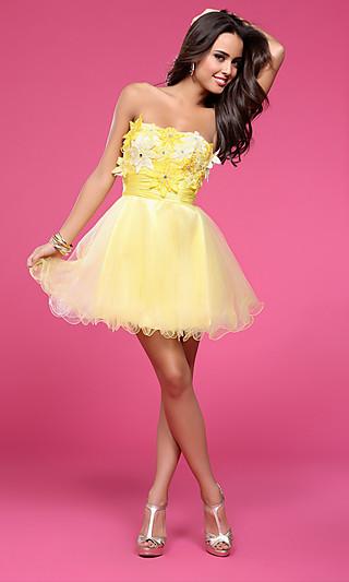 Floral short strapless dress, bg haute baby doll dresses