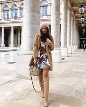 coat,faux fur coat,mini dress,printed dress,knee high boots,high heels boots,handbag,beret