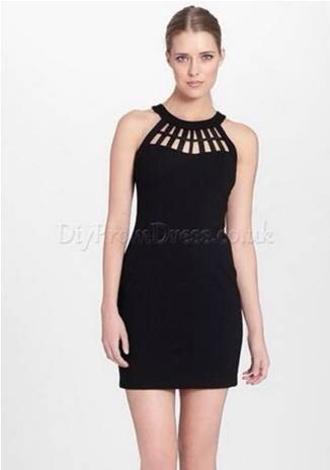 dress neckline lines cutout short tight black