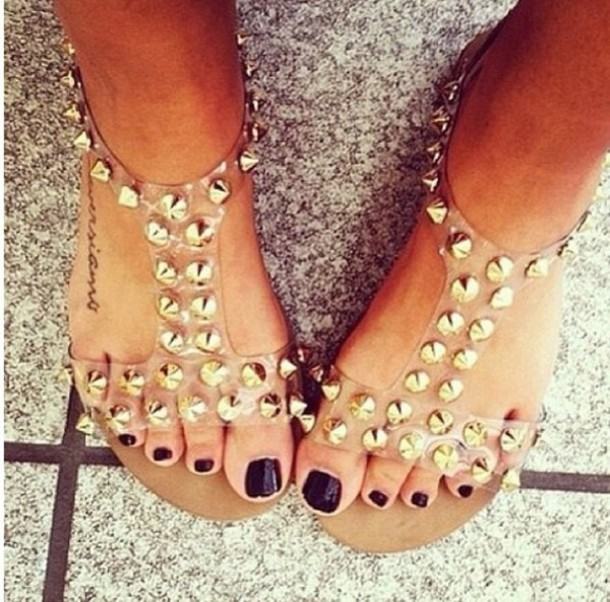 shoes studs see through fashion sandles summer cute brown summer shoes