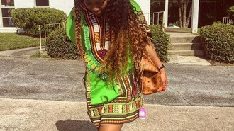 dress dashiki green dress african print african dress tunic dress