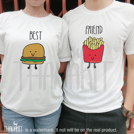 025c5ae21c Best Friend Burger and French Fries BFF couple TShirt - Tee Shirt Tee ...