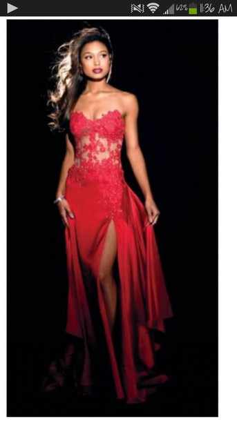 Long red dress prom