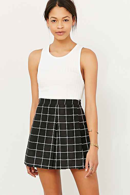 Silence   Noise Inverted Pleated Mini Skirt - Urban Outfitters