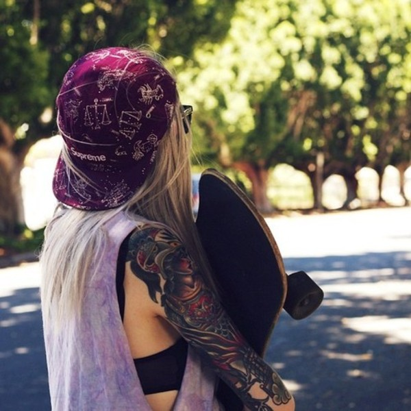 hat cap purple blonde hair tattoo skater science plum nerd horoscope purple tank top muscle tee snapback supreme zodiac signs hats and beanies maroon/burgundy