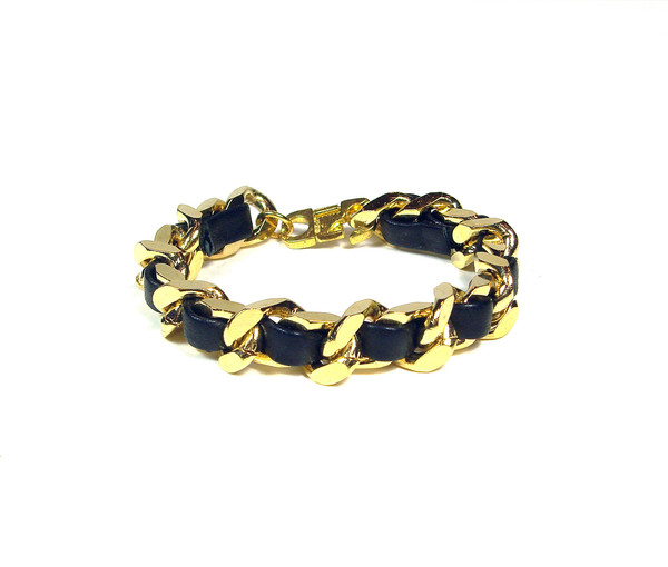 Black Leather Woven Gold Chain Bracelet | Created by Fortune