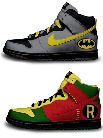 nike sneakers yellow black gray batman