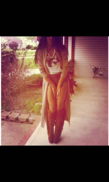 cardigan High waisted shorts long cardigan boots